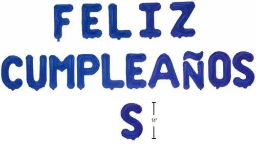 "Feliz Cumpleaños BLUE 14/"" Foil Air Filled Balloons Spanish Happy Birthday Globos"