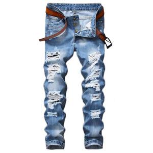 611d7bf42a0c Details about Fashion Men's Light Blue Ripped Destroyed Jeans Straight Slim  Fit Denim Pants