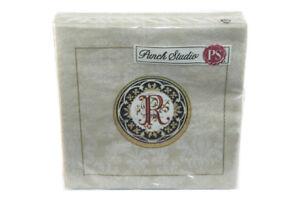 Punch-Studio-Monogram-Beverage-Napkins-83202R-Letter-R-20-Napkins