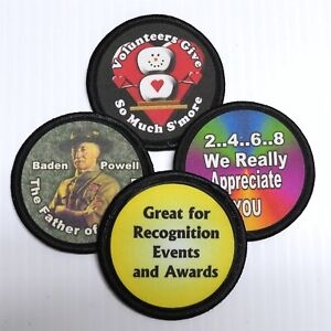 Custom-Printed-Fabric-Patches-2-5-034-Round-Lot-of-5-You-Choose-the-Design-amp-Text