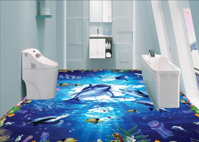 3D Cute Dolphin 6990 Floor WallPaper Murals Wall Print 5D AJ WALLPAPER AU Lemon