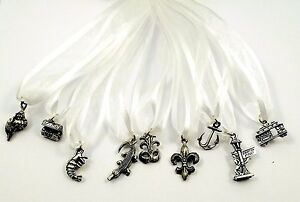 Set-of-Nine-9-Pewter-CAKE-PULL-Charms-BRIDES-New-Orleans-Theme