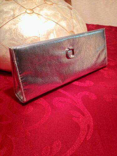 zilver tas kunstleer clutch Creation Vintage Rulo 1950's avond Ownvm8N0