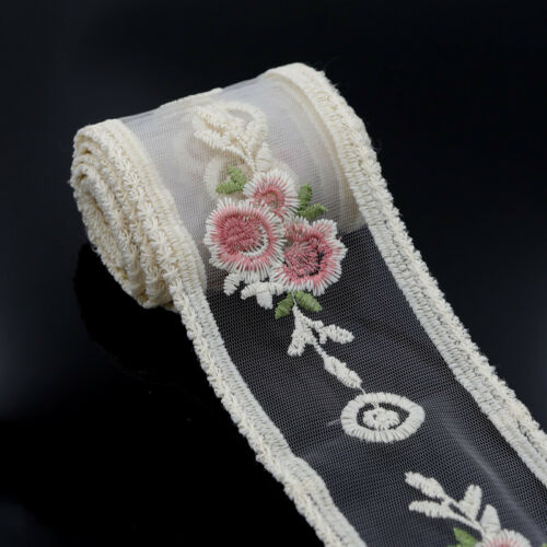 2 Yards Wedding Embroidered Floral Tulle Lace Trim Ribbon Sewing Applique Craft