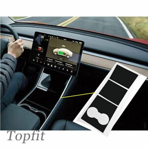 For-Tesla-Model-3-Matte-Black-Center-Console-Wrap-Kit-Inner-Decor-Cover-Sticker