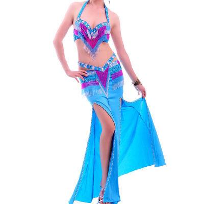 A003 Professionale Danza Del Ventre Costume 3 Pezzi Reggiseno Cintura Rock Aria-