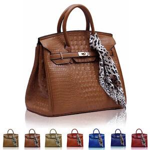 New Croc Faux Leather Ladies Designer Womens Shoulder Bag Doctor Handbag Tote UK