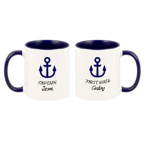 "Tassen Set /""Captain First Mate/"" Geschenk zur Bootstaufe"
