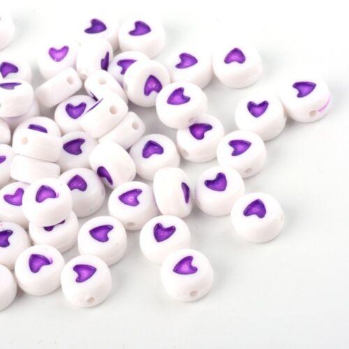 100 X 7 mm Violeta Corazón Acrílico Púrpura Redonda Plana Espaciador granos