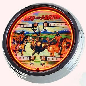 N-0708-Reloj-de-Pared-034-Pinball-Bow-And-Flecha-Bally-1974-034-Neonuhr-Cocina-Salon