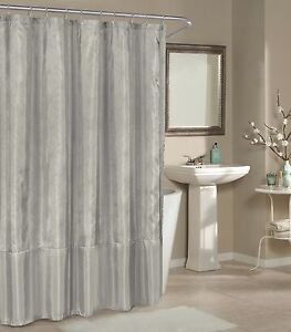 Image Is Loading Silver Faux Silk Fabric Shower Curtain Metallic Raised