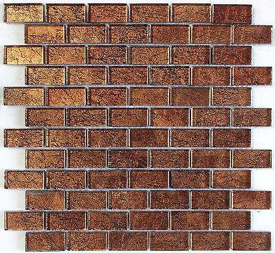 """Brown Foil Glass Mosaic Tile 1""""X2"""", Bath Kitchen Backsplash Wall"""