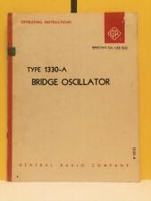 General Radio 1330 0100 G Type 1330 A Bridge Oscillator Operating Instructions