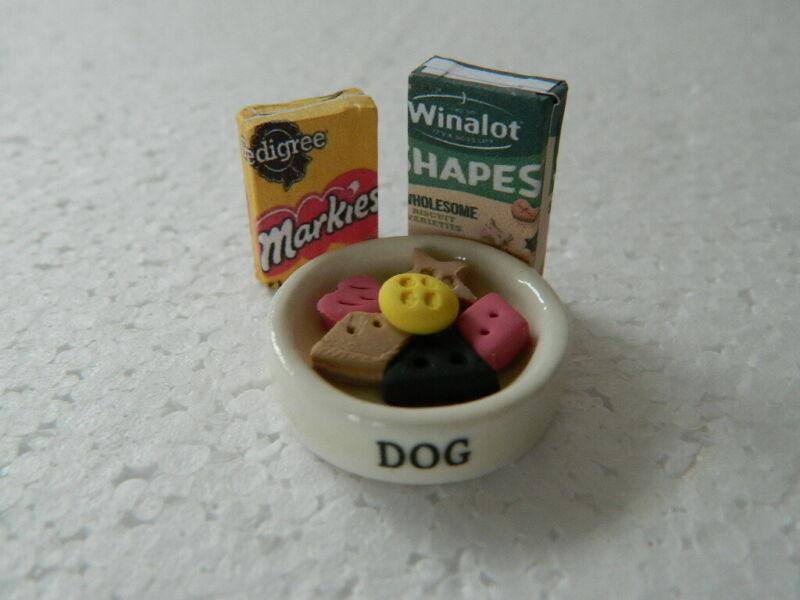 1:12 Scala Ciotola per cani in ceramica tumdee Casa delle Bambole Miniatura Accessorio di cibo per animali