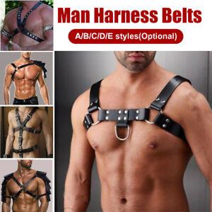 Leather-Bondage-Male-Costume-Men-Body-Chest-Harness-Strap-Belts-adult-Black