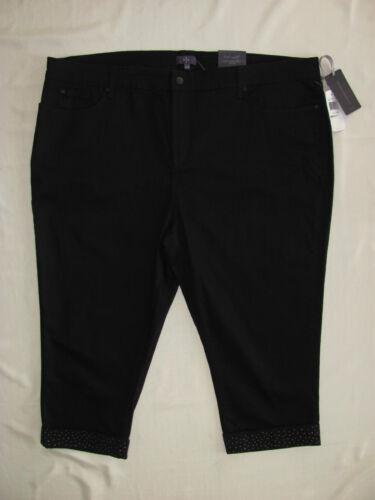 nwt votre pas fille noirs Crop Jeans Nydj poignets taille 24w Capri cristaux 114 P5qTdEw