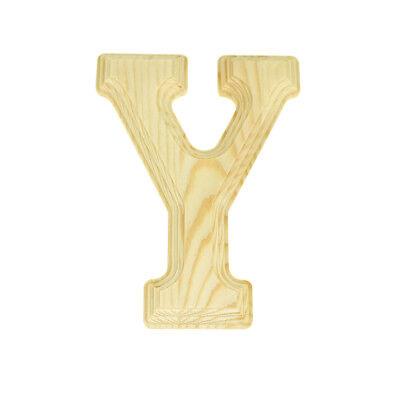 6-Inch Natural Pine Wood Beveled Wooden Letter J