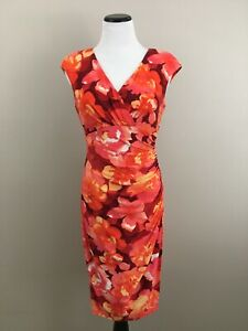 LAUREN-Green-Label-Orange-Red-Floral-Faux-Wrap-Dress-Sleeveles-Sz-6