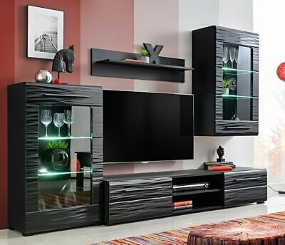 Wall Unit Timber 1 Rtv Cabinet Display Cabinets Glass Led Lights Living Room New Ebay