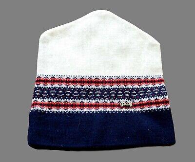 Men's Vintage Bianco Blu Con Motivo Sci Cappello Beanie Taglia Unica-mostra Il Titolo Originale Dolorante