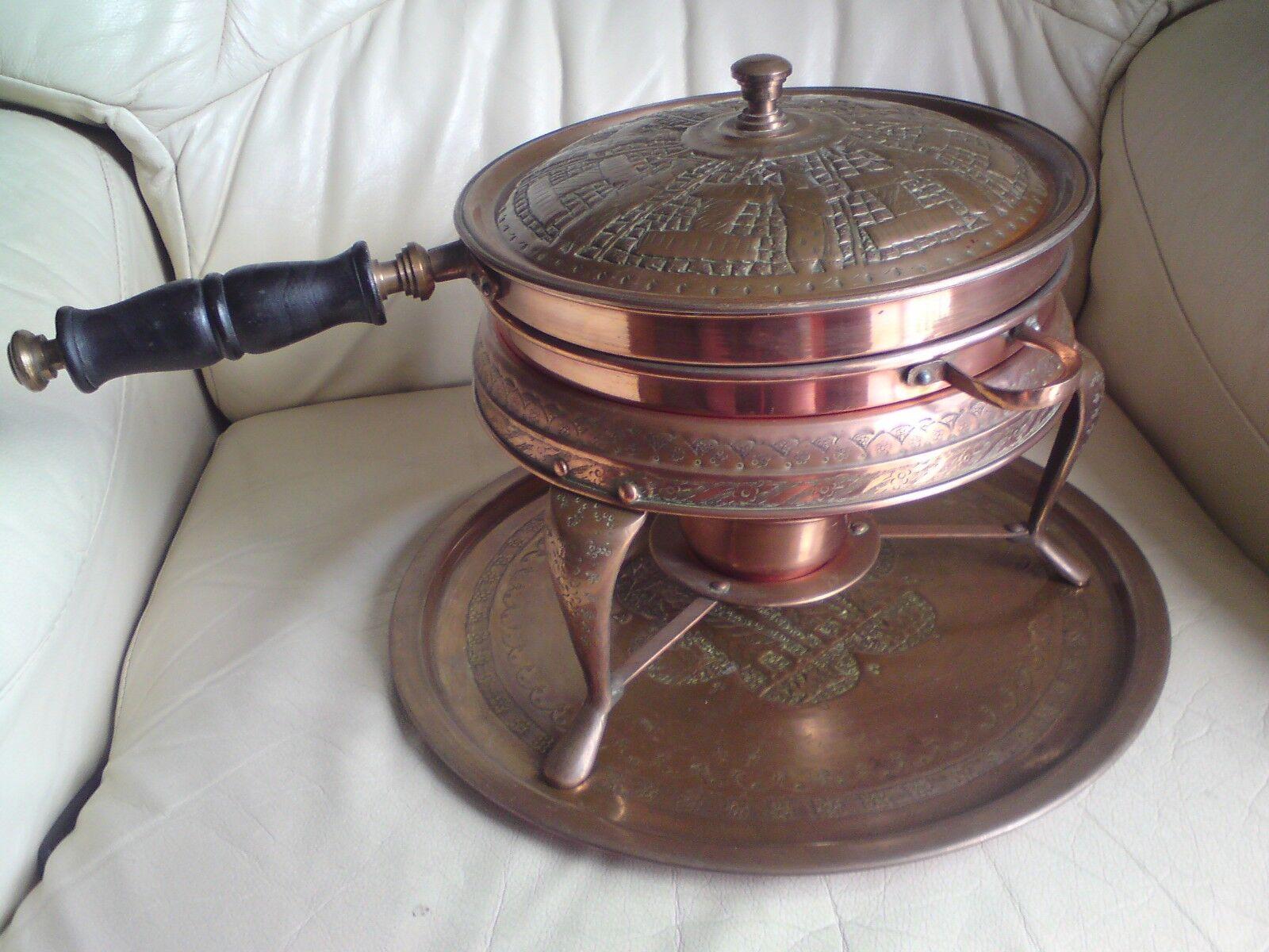 Vintage Nader Factory TéHéRAN IRAN Food Warmer Copper TIN LINED, utilisé.