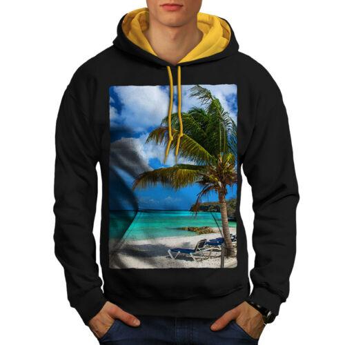 cappuccio cappuccio Men New Black Felpa Contrast uomo Sunny con oro Beach zxwCqOPw