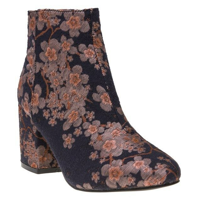 New Womens SOLE Pink Multi Ida Textile Boots Ankle Zip