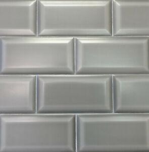 Gray 3x6 Beveled Matte Finish Ceramic Subway Tile ...