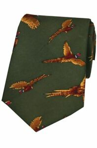 Soprano Flying Pheasants Green Silk Tie Game Country Hunting//Shooting NS632