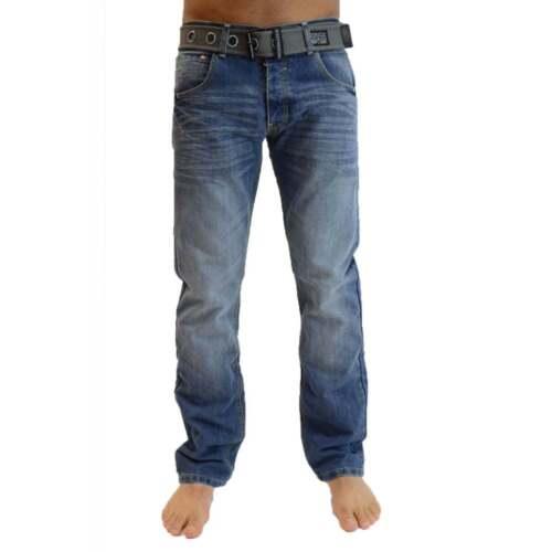 NEW MENS CROSSHATCH STRAIGHT LEG DARK BLUE JEANS SMALL TO KING SIZE BNWT
