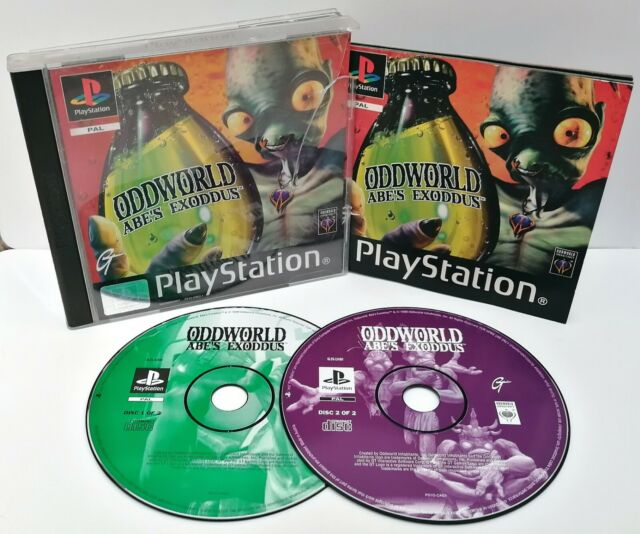 Oddworld: Abes Exoddus ~ Sony Playstation ps1 Black Label Spiel * sehr gute CIB *