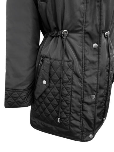 WOMENS QUILTED PANEL HOODED JACKET BLACK OR GREY Size UK 10,12,14,16 S-XL