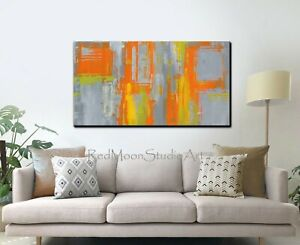48x24-Abstract-Art-Painting-Orange-Green-Yellow-and-Gray-US-Artist