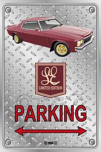 Parking-Sign-Metal-HOLDEN-HX-LE-2-DOOR-RED-Checkplate-look
