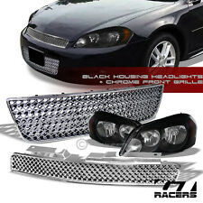 BLK HEAD LIGHTS AMBER NB+CHROME MESH UPPER+LOWER BUMPER GRILL 06-16 CHEVY IMPALA