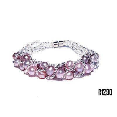 Echt Süßwasser Zucht Perlenkette Armband Armkette 19cm Magnetverschluß R1290