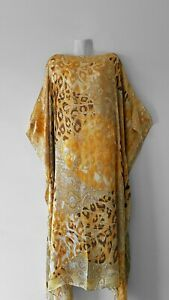 NEW-GOLD-Handmade-SILK-Kaftan-Plus-Size-Maxi-Beach-Caftan-Resort-Wear