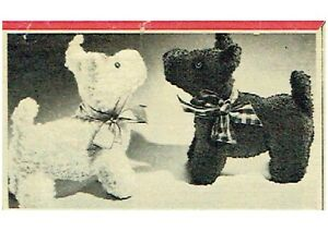 Vintage-Knitting-Pattern-How-to-make-a-1940s-50s-Scottie-Westie-dogs-6-034-long