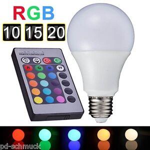 1 led birne leuchte gl hlampe e27 85 265v 10w 15w mit fernbedienung neu ebay. Black Bedroom Furniture Sets. Home Design Ideas
