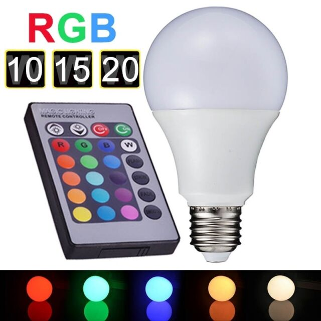 1 LED Birne Leuchte Glühlampe E27 85-265V 10W/15W mit Fernbedienung M8641
