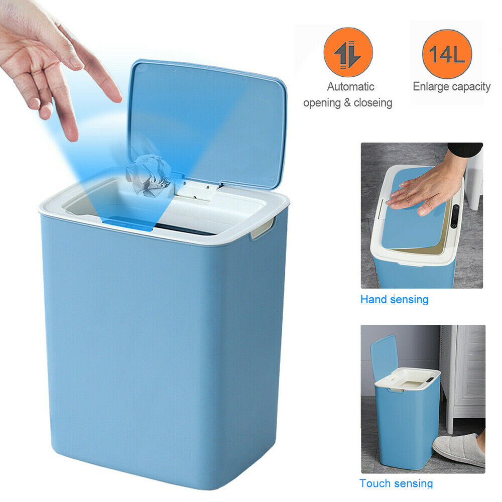 ZHSHOUCHENG Smart Trash Can 10L Automatic Touchless Sensor Trash Can Chargeable Built-in Lithium Battery Wide Opening Sensor Kitchen Trash Bin For Office And Bathroom White