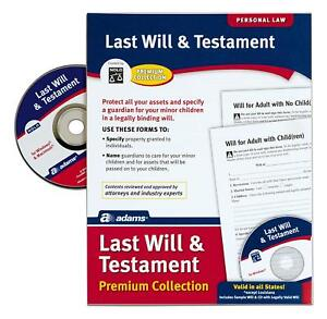 Adams-SIMPLE-TO-USE-Last-Will-And-Testament-Kit-Forms-Free-with-Software-CD-NEW