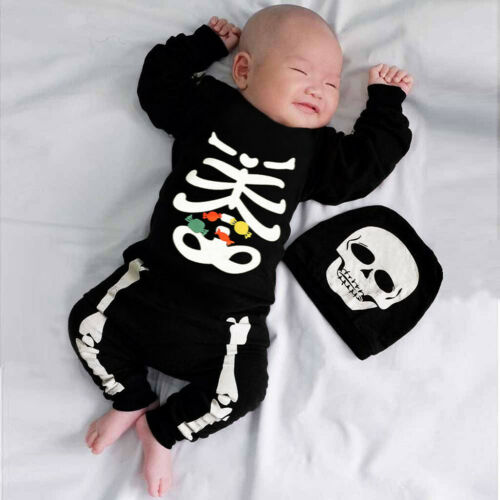 Newborn Infant Baby Boys Girl 2Pcs Outfits Halloween Romper Hat Beanie Clothes
