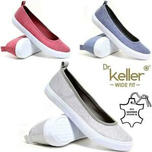 Ladies-Canvas-Shoes-Summer-Wide-Fit-Ballerina-Boat-Deck-Comfort-Driving-Shoes