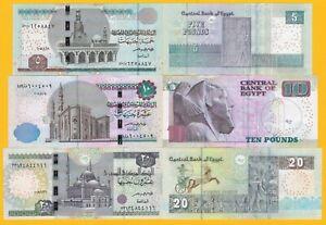 Egypt-Set-5-10-20-Pounds-p-72-73-74-UNC-Banknotes