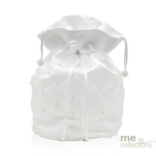WHITE IVORY WEDDING BRIDAL DILLY BAGS PURSE BRIDE BRIDESMAID FLOWER GIRL gifts