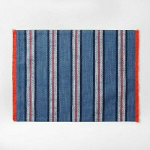 "Summer Sydney Stripe Printed Placemat Set of 4 13/"" x 19/"" Red White Blue Print"