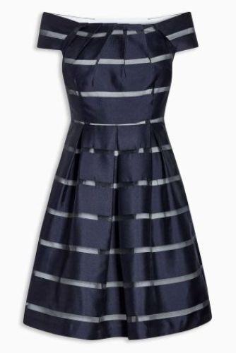 BNWT New NEXT Navy Blue Cream Organza Stripe Bardot Shoulder Prom Dress 12 P £75