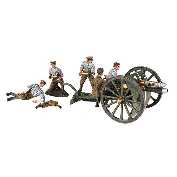W Britain  Limited 1914 British 13 LB (environ 5.90 kg) pistolet RHA avec cinq homme encolure ras-du-Ensemble 7 pièces  offres de vente