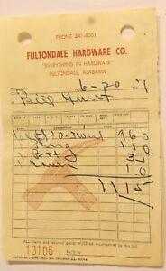 Vintage Fultondale Hardware Order Form Invoice Bill Alabama 1967